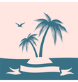 Palm island silhouette vector image