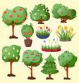 funny cartoon green garden park tree with fruits vector image