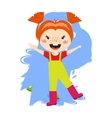 Adorable girl puddle at rainy day springtime jump vector image