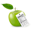 An apple with a nutrition facts label vector image