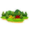 an isolated campsite scene vector image