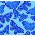 Beautiful seamless background blue butterfly vector image vector image