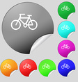Bicycle icon sign Set of eight multi colored round vector image vector image