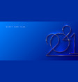 blue banner with golden 2021 new year logo vector image vector image
