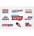 breaking and fake news logo template on vector image vector image