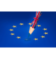 Brexit concept UK pencil drawing over a EU star vector image