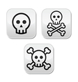 Cartoon skull with bones buttons set vector image vector image