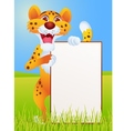 Cheetah with blank sign vector image vector image