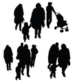 child with family silhouette vector image vector image