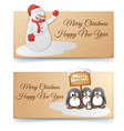 christmas and new year horizontal banners vector image