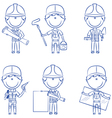 Collection of construction workers vector image vector image