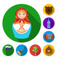 country russia travel flat icons in set vector image vector image