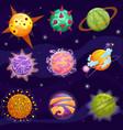 cute cartoon fantasy fantastic planets set vector image vector image