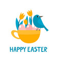 cute cup with bird eggs and tulips for easter vector image