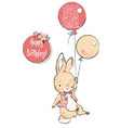 cute hare with balloons vector image vector image