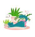 cute playful cat with house plants in cartoon vector image vector image