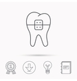 Dental braces icon Tooth healthcare sign vector image