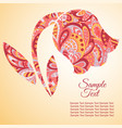 doodle flower tulip zentangl drawing holiday card vector image vector image