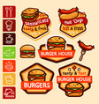 fast food logos and emblems set vector image vector image