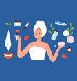 female beauty pack young woman after bath vector image