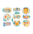 flat set various seafood dishes boiled vector image