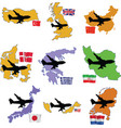 fly me to the United Kingdom China Denmark Greece vector image
