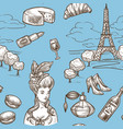 French culture symbols and historical hand drawn
