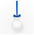 glass transparent christmas ball with blue bow vector image vector image