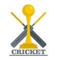 gold cup cricket logo flat style vector image