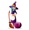 halloween party beautiful lady witch vector image