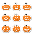 Halloween pumkin orange icons set vector image vector image