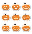 halloween pumpkin orange icons set vector image
