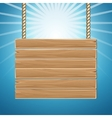 Hanging wooden blank sign board blue sky vector image vector image