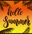 hello summer lettering phrase on grunge vector image