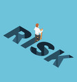 isometric businessman climbing up from risk hole vector image