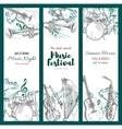 Jazz music festival banners musical instruments vector image vector image
