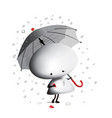 little man with broken heart and umbrella vector image
