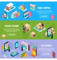 Mobile Shopping Isometric Horizontal Banners vector image vector image