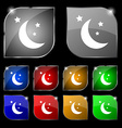 moon icon sign Set of ten colorful buttons with vector image vector image