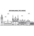 netherlands hague architecture line skyline vector image vector image