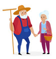 old farmer with his wife elderly couple senior vector image vector image