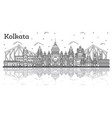 outline kolkata india city skyline with historic vector image vector image