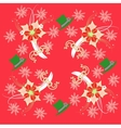 Red Pattern with Poinsettia and Snowflakes vector image vector image