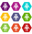 robot with big eyes icon set color hexahedron vector image vector image