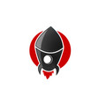 rocket launch icon on white background vector image vector image
