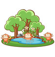 scene with monkeys in park vector image vector image