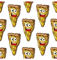 Seamless pattern of mushroom pizza slices vector image vector image