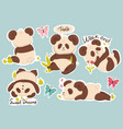 set cute pandas stickers with captions vector image vector image