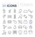 set line icons tennis vector image vector image