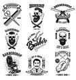 set of vintage barber shop emblems badges vector image